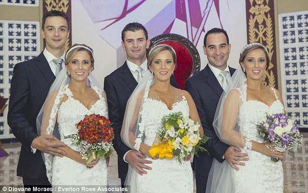Triplete brazilience, căsătorite în rochii de mireasă identice, în aceeași zi!