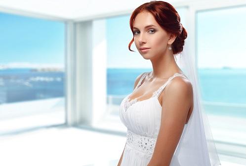 Portrait of Beautiful Young Fashion Bride in interior