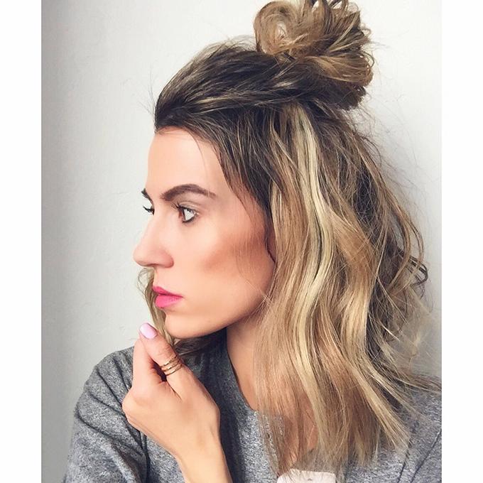 half-bun-with-short-hair
