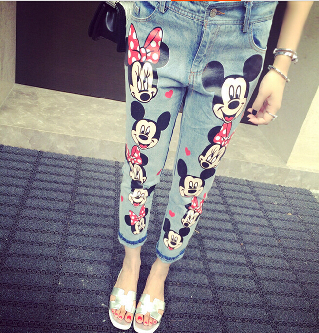 2014-summer-new-korean-women-cartoon-mickey-font-b-mouse-b-font-skinny-jeans-woman-capris