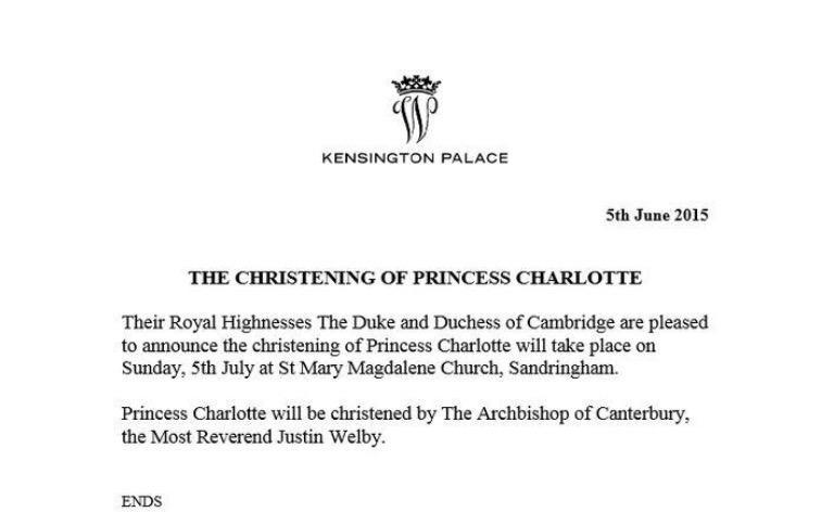 princess charlotte christening