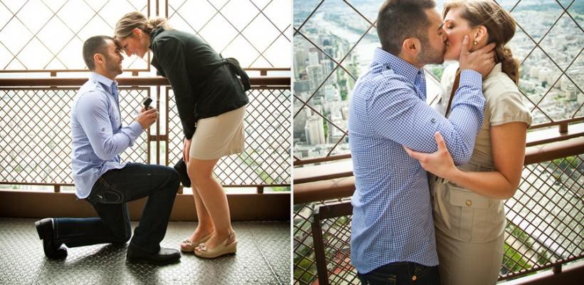 Un cuplu care s-a logodit pe Turnul Eiffel, căutat de internauți!