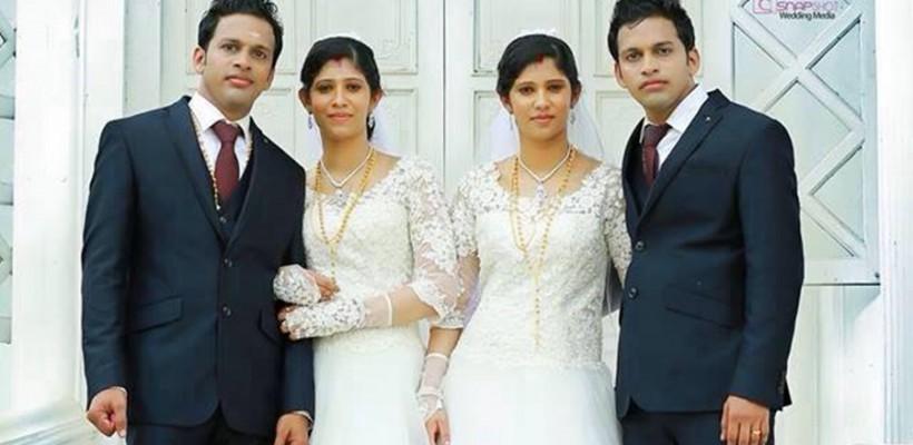 Două cupluri de gemeni din India, cununate de doi preoți gemeni!