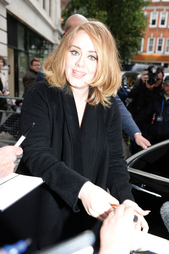 English singer Adele pictured at the BBC Radio studios in London, England on October 23rd 2015