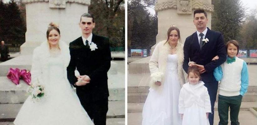 Bogdan Dascăl și soția sa au refăcut o fotografie de nuntă la distanța de 12 ani!