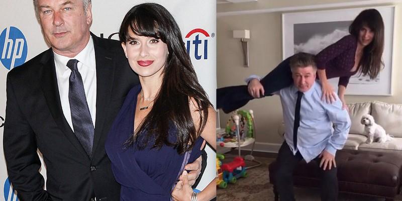 La 57 de ani, Alec Baldwin face genuflexiuni cu soția pe umeri (Video)