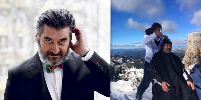 Așa tată, așa fiu! Victor Micușa a fost tuns la înălțime în munți de către fiul său, Dumitru (Foto)