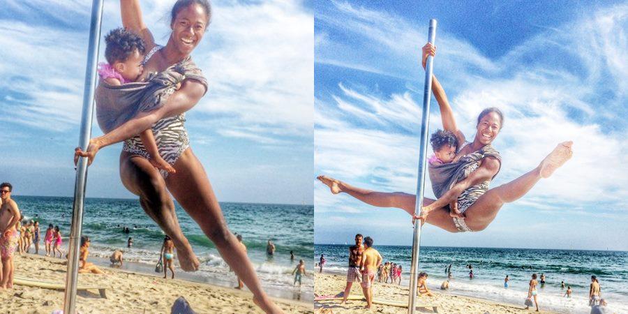 Această mămică practică Pole Dance chiar și în timp ce alăptează!