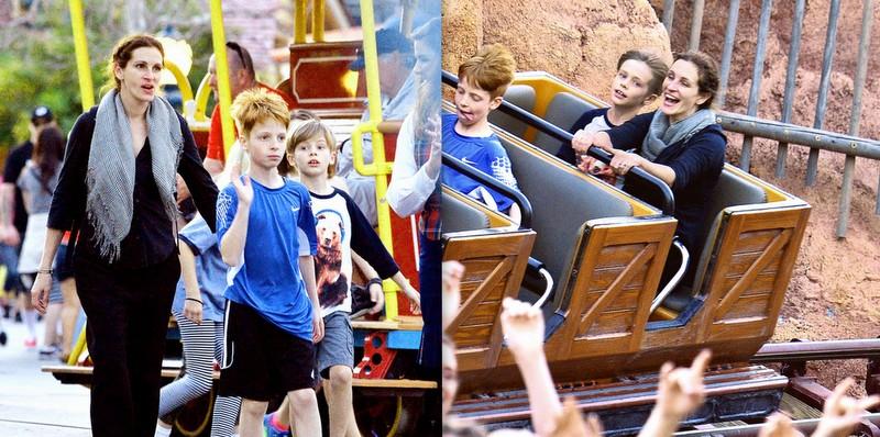Julia Roberts s-a distrat alături de copiii ei pe caruselele din Disneyland (Foto)