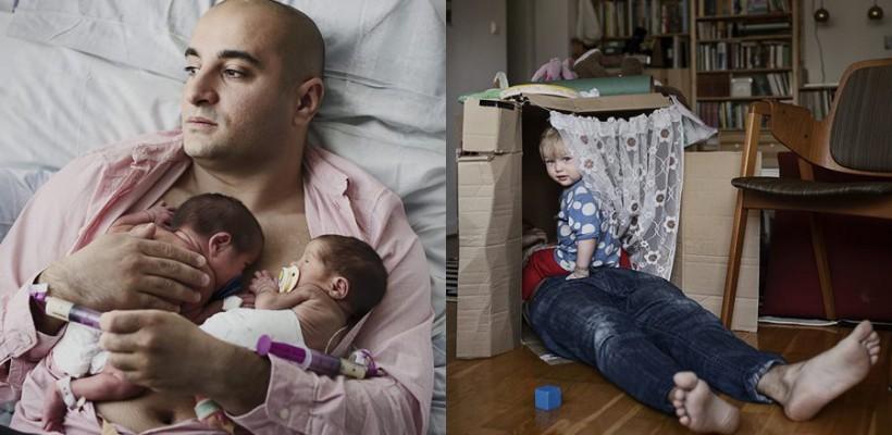 Un fotograf surprinde frumos tăticii care au grijă de pici cât mamele muncesc