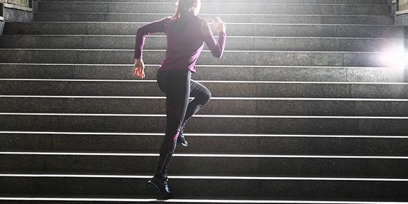 Women running on stairs