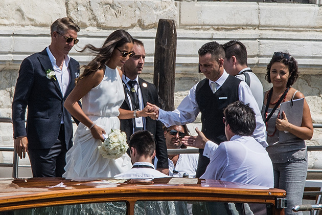 VENICE, ITALY - JULY 12:  Bastian Schweinsteiger and Ana Ivanovic leave the Aman Grand Canal hotel to reach the wedding hall at Palazzo Cavalli before the celebration of their marriage on July 12, 2016 in Venice, Italy.  (Photo by Awakening/Getty Images)