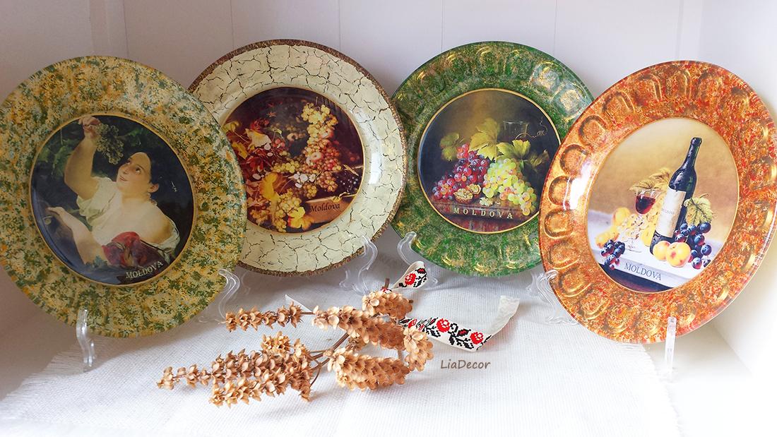 farfurii decorative, cu decupajul pe verso