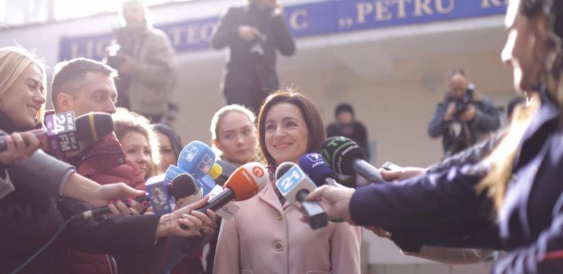 Maia Sandu le mulțumește femeilor pentru implicarea în primul tur al alegerilor prezidențiale