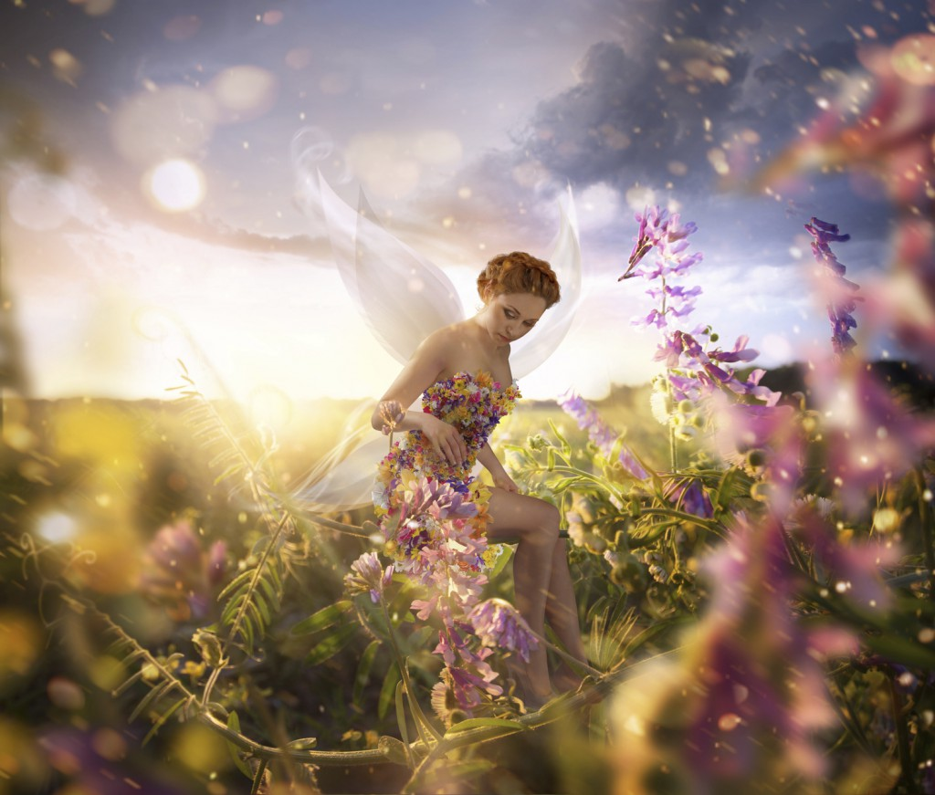 Beautiful Fairy with wings is sitting on the flower in the green field