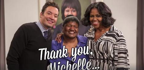 Au venit să înregistreze un mesaj de rămas bun pentru Michelle Obama, însă Prima Doamnă era chiar în platou (VIDEO)