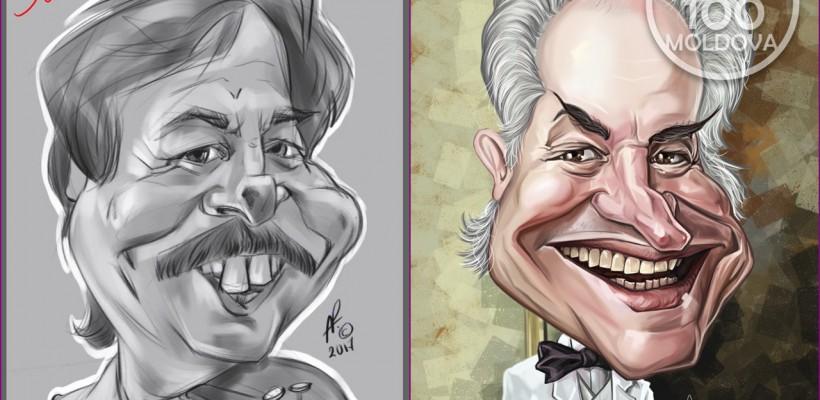 Moldoveni celebri, caricaturizați de Alexandru Plăcintă: Eugen Doga are un nas foarte lung, iar Nicolae Botgros – dinți de iepure