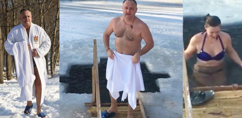 Igor și Galina Dodon au făcut baie în apa rece ca gheața, de Bobotează (VIDEO)