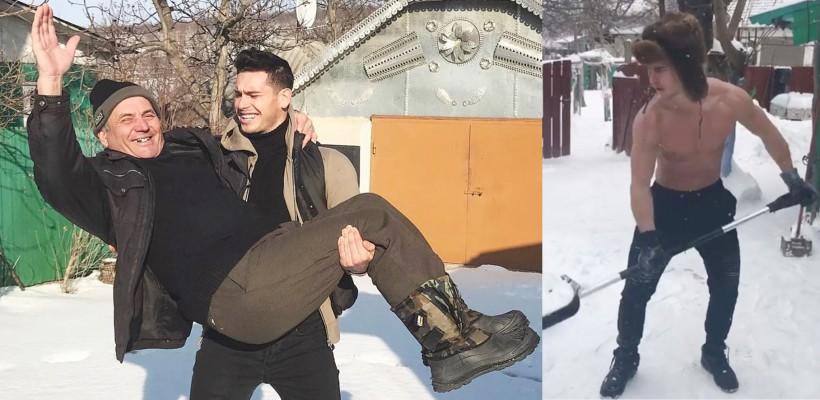 Valeriu Guțu a tras o fugă pe-acasă! Vigurosul model și-a purtat bunicul în brațe (FOTO)