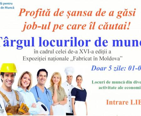 """Vino la Târgul locurilor de muncă în cadrul Expoziției """"Fabricat în Moldova"""""""