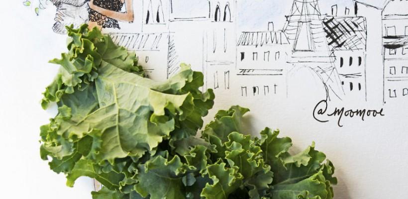 Rochițe din frunze de salată, din roșii și flori… O arhitectă schițează femei îmbrăcate în flori și legume. Inspiră-te!