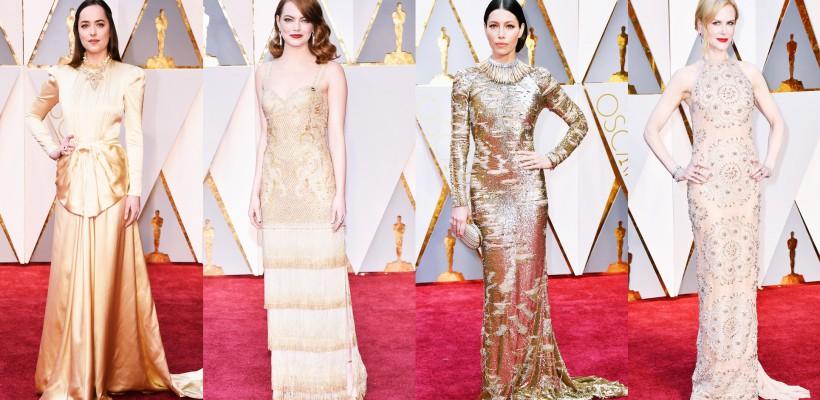 Auriul – vedeta serii! Admiră ținutele afișate de celebrități pe Red Carpet-ul Galei Oscar 2017