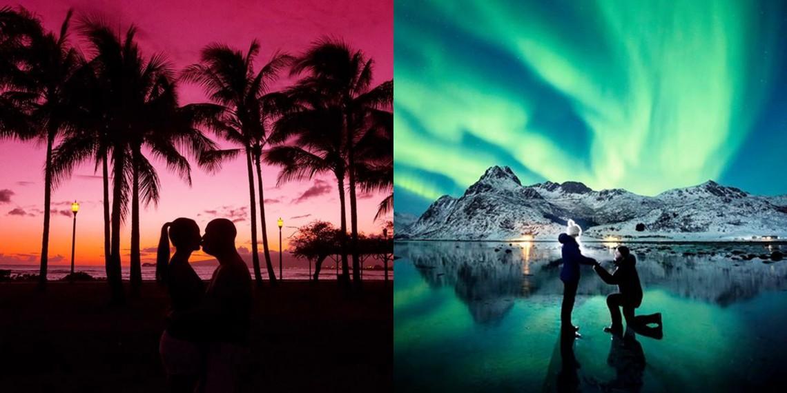 Binecuvântarea naturii! Un fotograf și-a cerut iubita de soție pe fundalul aurorei boreale! (FOTO)