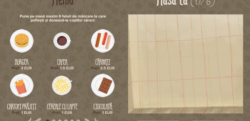 Bun venit la primul restaurant virtual din țară! Comandă, ține post negru și donează pentru copii contravaloarea bucatelor