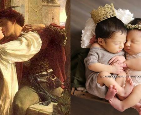 Doi micuți pe nume Romeo și Julieta au venit pe lume la același spital și au participat la o ședință foto