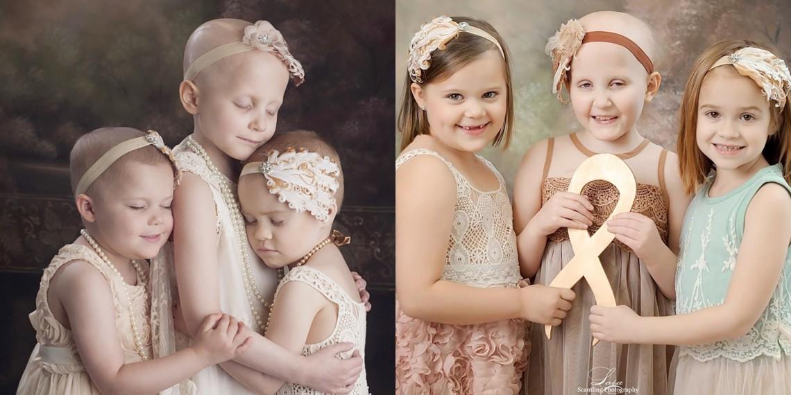 Mai puternice decât cancerul! 3 fetițe trecute prin chimioterapie au refăcut o ședință de acum 3 ani