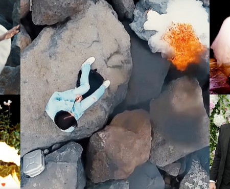 S-a inspirat de la Mariah Carey? Olga Buzova își arde rochia de mireasă în cel mai nou videoclip