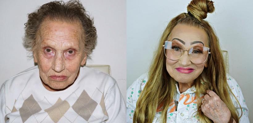 O bunicuță de 81 de ani a devenit vedetă pe Instagram la insistența nepoatei, makeup artistă de meserie