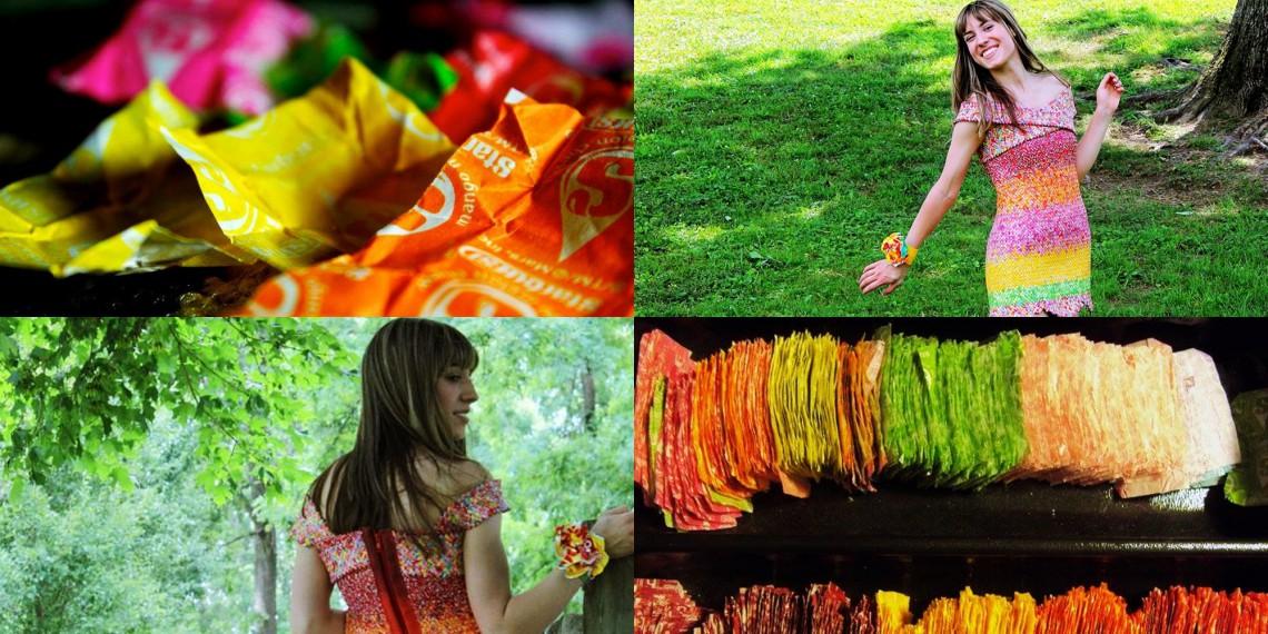 O tânără de peste ocean a uimit internauții cu o rochie creată din 10 000 de ambalaje de bomboane