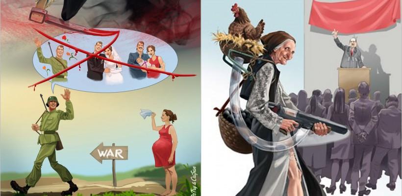 Realitate dură a lumii în care trăim, trădată de ilustrațiile unor caricaturiști din România