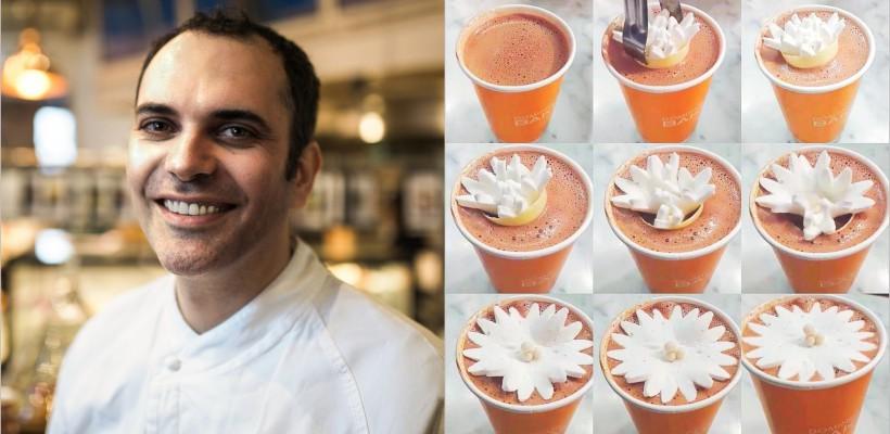 Acest bucătar face cănile cu ciocolată fierbinte să înflorească în ochii clienților! (VIDEO)