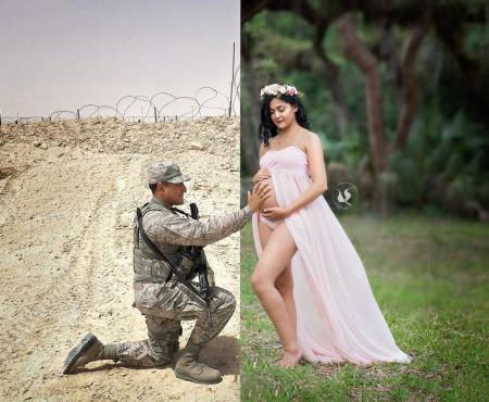 Poza zilei: pentru că tatăl copilului ei nu va fi prezent la naștere Veronica l-a adus acasă prin fotografie