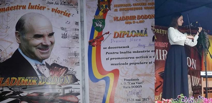 Talentata Nancy Sandu a cucerit premiul mare la un prestigios concurs de vioară, desfășurat la cĂLĂRAȘI