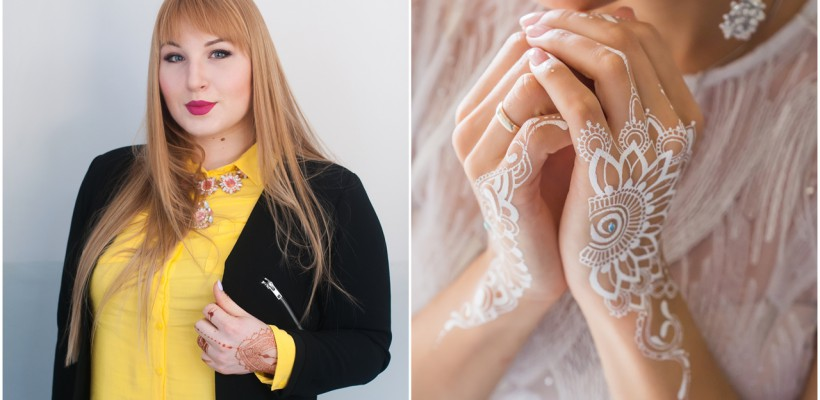 O nouă tendință în rândul mireselor din Moldova! În loc de bijuterii poartă desene orientale, executate în alb de artista Elena Muchieviț