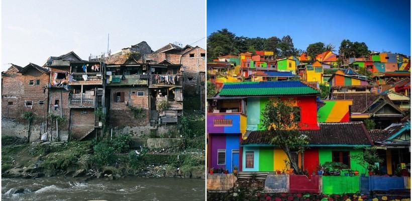 232 de cocioabe dintr-un sat indonezian au fost pictate în toate culorile curcubeului. Mahalaua murdară arată acum ca o poveste vie!