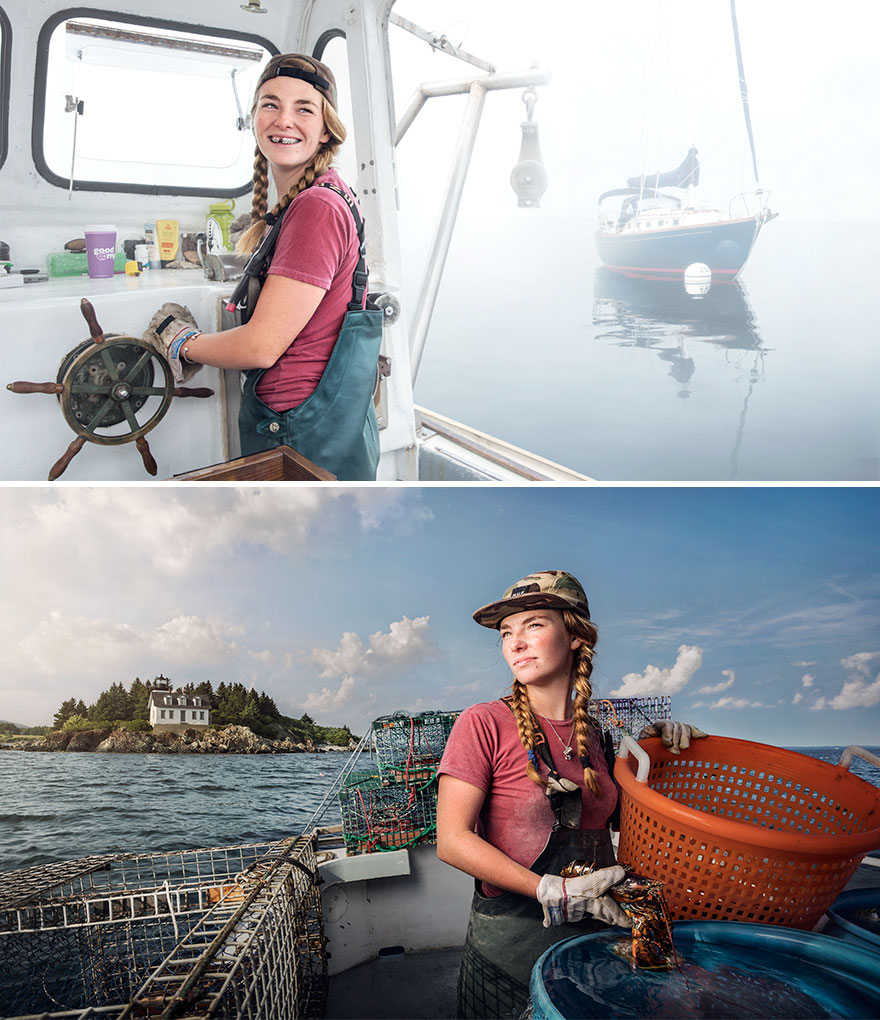 """Sadie Samules, pescar de homari în Rockport, Maine. P.S. În limba română, cuvântul """"pescar"""" nu apare la feminin"""