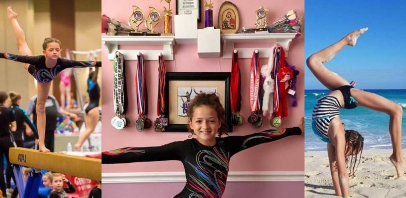 La doar 9 ani e campioană la gimnastică peste ocean! Are în palmares zeci de premii și medalii