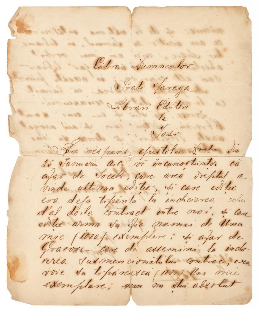 Scrisoare redactata si semnata olograf de Capitan Matei Eminovici (Eminescu) catre editorii Saraga, 1897