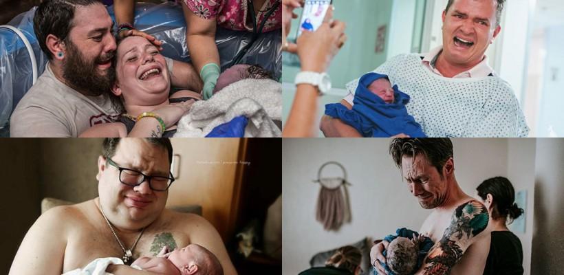 De plâns și de râs! Imagini cu tați care au asistat la nașterea copiilor lor (FOTO)