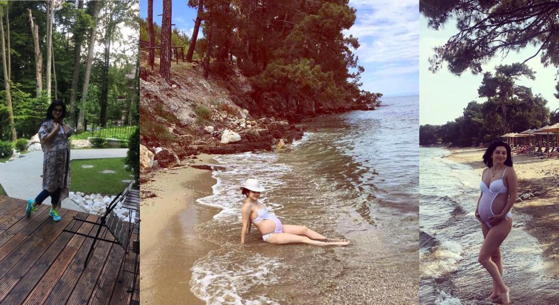 """Adriana Voloșenco își afișează burtica proeminentă pe una dintre cele mai frumoase plaje din Grecia! """"În apă suntem mai cuminței"""" (FOTO)"""