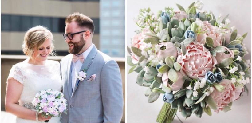 Buchete de mireasă cu flori din lut, amintirile de nuntă pentru totdeauna (Foto)