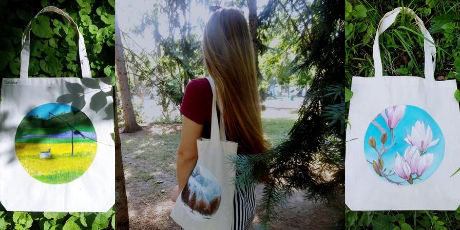 O absolventă a ASEM propune înlocuirea sacoșelor de plastic cu gențile ECO-artistice! Le pictează ea însăși