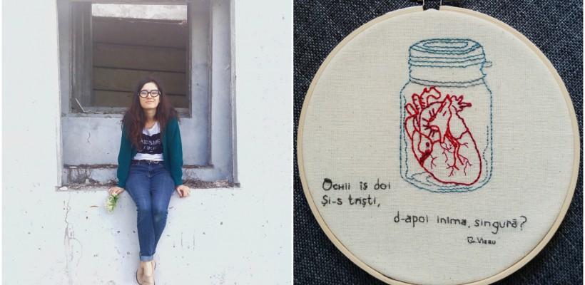 Ana-Maria Bumbu brodează versuri care devin decor pentru casă