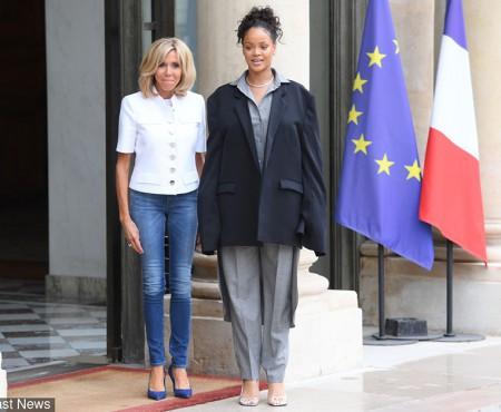Întâlnirea dintre Brigitte Macron și Rihanna a devenit subiect de ironii. Outfit-ul interpretei e marele motiv