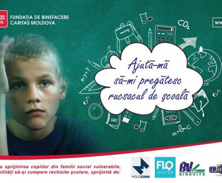 """Caritas Moldova lansează campania umanitară – """"Ajută-mă să-mi pregătesc rucsacul de școală"""""""