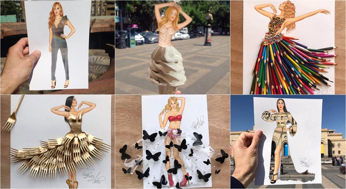 Edgar Artis pictează rochii de seară din hârtie, pixuri și resturi alimentare (Foto)